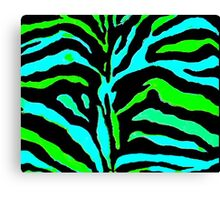 """Digital Zebra Green"" Canvas Print"