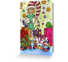 Whimsical Elf Greeting Card