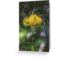 Yellow-Orange Hanging Flower Machine Dreams Greeting Card