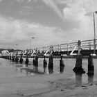 Jetty in Black and White by Sandy1949