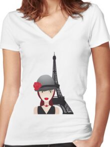 Vintage poster with beautiful girl in paris Women's Fitted V-Neck T-Shirt