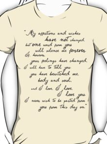 Pride and Prejudice, Darcy (black) Quote  T-Shirt