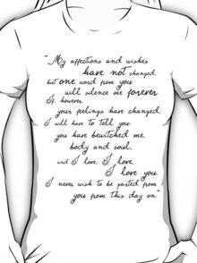 Pride and Prejudice, Darcy (black) Quote  T-Shirt