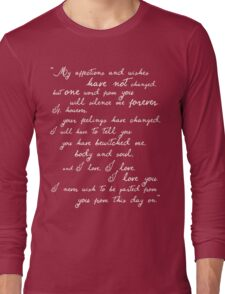 Pride and Prejudice, Darcy (white) quote Long Sleeve T-Shirt