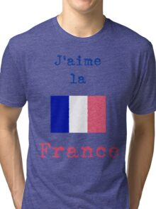 I Love France Vintage Style Tri-blend T-Shirt