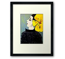 ART DECO  GIRL WITH YELLOW  BOW Framed Print