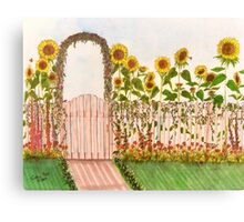 Garden Picket Fence Sunflowers Floral Cathy Peek Canvas Print