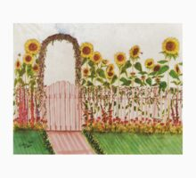 Garden Picket Fence Sunflowers Floral Cathy Peek One Piece - Short Sleeve