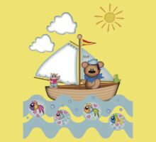 Sailing Bear and his little cat Tee One Piece - Short Sleeve