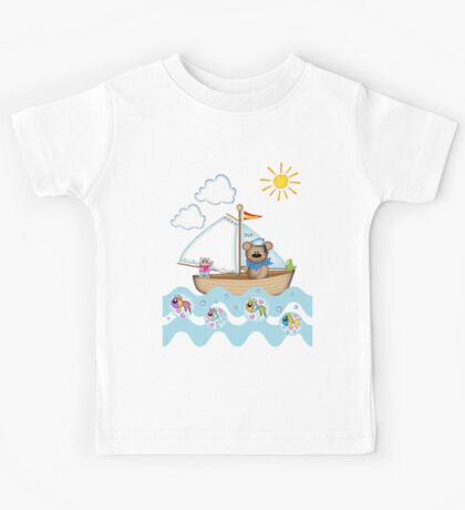 Sailing Bear and his little cat Tee Kids Tee