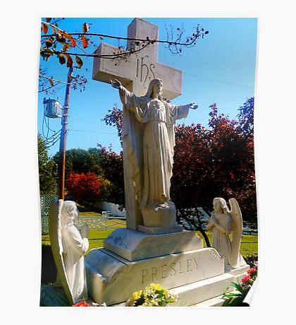Presley family memorial statue, Graceland Poster