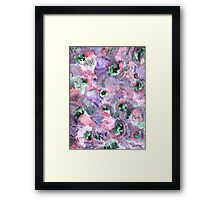 COLORFUL ABSTRACT WITH GREEN DOTS Framed Print