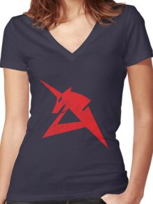 Red Unicorn Women's Fitted V-Neck T-Shirt