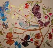 BIRD IN FLOWERS 7 by Gea Austen