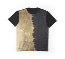 Faux Gold & Black Starry Night Brushstrokes Graphic T-Shirt