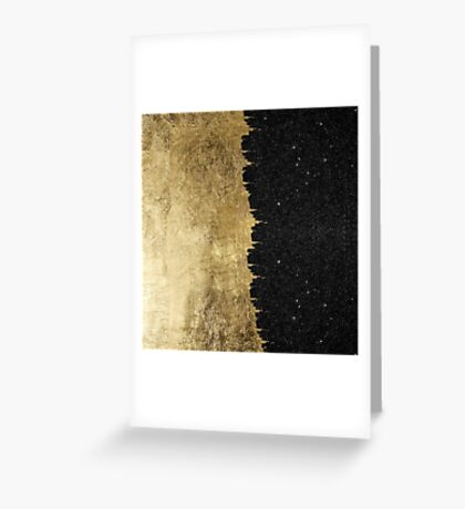 Faux Gold & Black Starry Night Brushstrokes Greeting Card