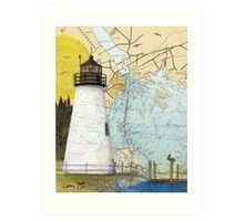 Concord Point Lighthouse MD Nautical Chart Peek Art Print