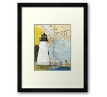 Concord Point Lighthouse MD Nautical Chart Peek Framed Print