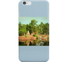 Asian Temple And Longtail Boat Reflecting In Water iPhone Case/Skin