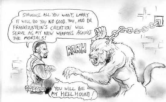 Dracula Taunting the Wolfman by mattycarpets