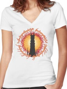 Barad Dur - Always Watching, Never Sleeping Women's Fitted V-Neck T-Shirt