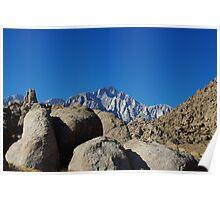 Rocks and highest Sierra Nevada peaks, California Poster