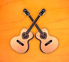 Double acoustic Guitar heart v1 ipad case by goodmusic