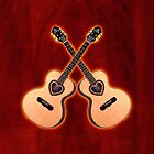 Double acoustic Guitar heart v2 ipad case by goodmusic