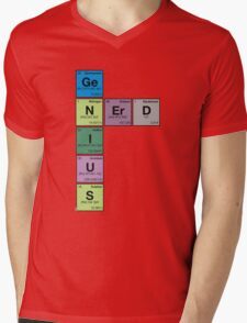 GENIUS NERD! Periodic Table Scrabble Mens V-Neck T-Shirt