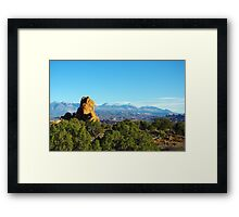 Rocks and Manti La Sal Mountains, Utah Framed Print