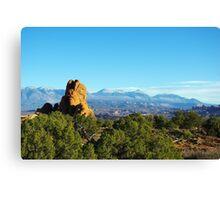 Rocks and Manti La Sal Mountains, Utah Canvas Print