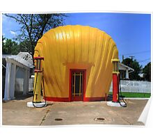 Shell Shaped Gas Station Poster
