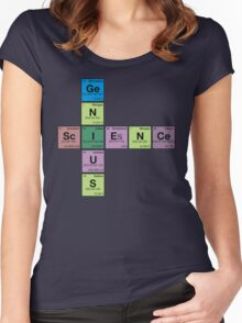 SCIENCE GENIUS! Periodic Elements Scrabble Women's Fitted Scoop T-Shirt