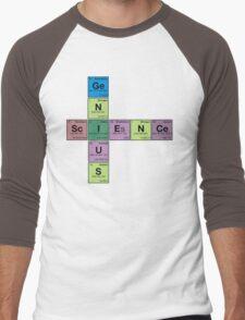 SCIENCE GENIUS! Periodic Elements Scrabble Men's Baseball ¾ T-Shirt