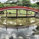 In the Garden of Japan (16) Reflecting on a Red Bridge by Larry Davis