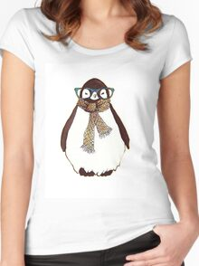 cute fluffy penguin Women's Fitted Scoop T-Shirt