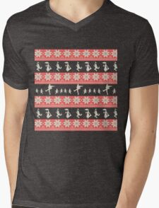 Mary Christmas Sweater Print Mens V-Neck T-Shirt
