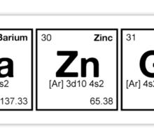 Ba Zn Ga! Periodic Table Scrabble [monotone] Sticker