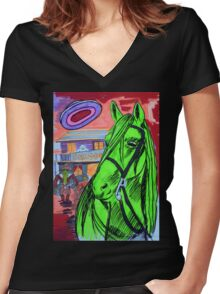 The Evening At The Saloon Women's Fitted V-Neck T-Shirt