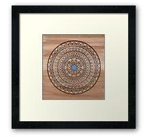Hand Drawn Brown And Blue Mandala Framed Print