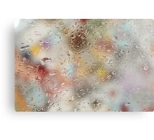 Colorful water droplets on a window Canvas Print