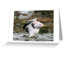 Dine and Dash ~ Pelican with full Basket of fish ~ Greeting Card