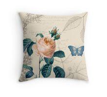 Peach Rose Vintage Throw Pillow