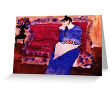 On her sofa, my version of a Pissarro, watercolor Greeting Card