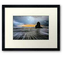 Stormy beach sunset Framed Print