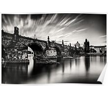 Charles bridge in the windy evening Poster