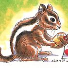 Holiday Critters - Chipmunk With Acorn by Stephanie Smith