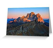Last beams over mountains Greeting Card