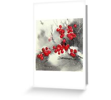 Red Berries,White Snow Greeting Card