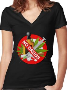 no drugs Women's Fitted V-Neck T-Shirt